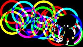 Silhouetvoetballer op achtergrond van kleurrijke ringen Knippende weg Stock Afbeelding
