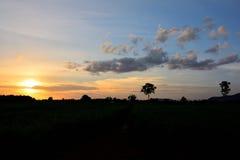 Silhouetvoorwerp van tropisch natuurlijk landschap Stock Fotografie