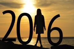 Silhouetvrouw 2016 Royalty-vrije Stock Foto's