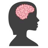 Silhouetvrouw met hersenen Royalty-vrije Stock Afbeeldingen