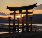Silhoulette scene of Torii at Itsukushima Shrine Royalty Free Stock Image