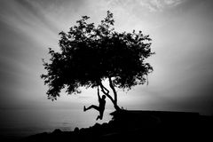Free Silhourtte Of Lonely Man Hanging His Body Royalty Free Stock Images - 27622889