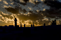 Silhouted Cemetery Royalty Free Stock Photography