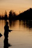 Silhoutette 2 de pêche de mouche Photo libre de droits