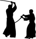 Silhoutette dos lutadores de Kendo Imagem de Stock Royalty Free