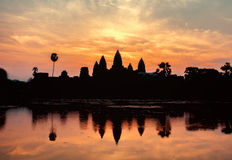 Silhoutte of Angkor Wat, Cambodia Stock Photos