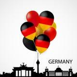 Silhoutte architectural, ballons dans des couleurs de drapeau de l'Allemagne Images libres de droits