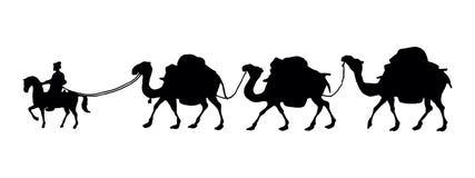 Silhoutte av en kamelhusvagn Arkivbilder