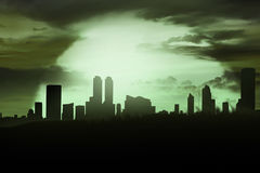 Silhoutte of cemetery and city Royalty Free Stock Images