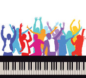 Silhouette of dancing people with keyboard Stock Photography