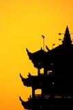 Silhoutte de la puesta del sol de la pagoda Fotos de archivo libres de regalías