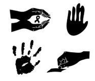 Silhoutte de main d'impression Images libres de droits