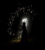 Silhoutte dello stregone di notte Immagini Stock