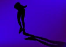 Silhoutte in der Zeile Schlittschuhläufer Stock Abbildung