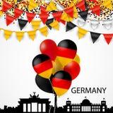 Silhoutte, empavesado, confeti y bandera arquitectónicos de Alemania Fotos de archivo