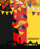Silhoutte, empavesado, confeti y bandera arquitectónicos de Alemania Foto de archivo libre de regalías