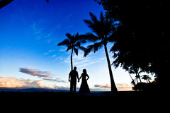 Silhoutte Hawai delle coppie di cerimonia nuziale Immagine Stock