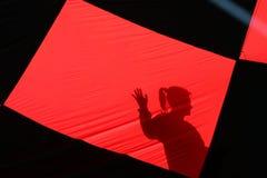 Silhoutte through a hot air balloon Royalty Free Stock Photos