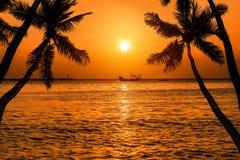 Silhoutte-Kokosnuss-Palmen mit silhoutte Fischerboot auf tropischem Meer im Sonnenuntergang Stockfotografie