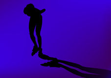 Silhoutte of in line skater stock images