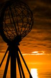 Monument on the north cape. Silhoutte of the monument on the north cape, norway, scandinavia Stock Images
