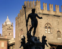 Silhoutte Of The Statue Of Neptune, Bologna. Royalty Free Stock Photo