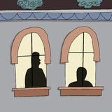 Silhoutte of People in Windows Stock Photos