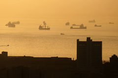Silhoutte of ships Royalty Free Stock Image