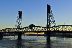 Silhoutte Steel Bridge Royalty Free Stock Image