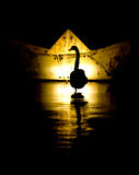 Silhoutte of a Swan Royalty Free Stock Photos