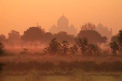 Silhoutte of Taj Mahal Stock Photos