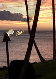 Silhoutte of torch in hawaii. Silhoutte of palm trees and torch at sunset Stock Photos