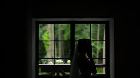 Silhoutte van bruid die oorringen dragen stock video