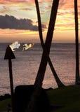 Silhoutte van toorts in Hawaï Stock Foto's