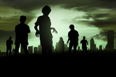 Silhoutte of zombies walking Royalty Free Stock Photo