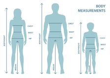 Silhouttes человека, женщин и мальчика в полнометражном с линиями измерения параметров тела иллюстрация штока