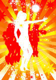 Silhouttes of dancing women in a disco Royalty Free Stock Images