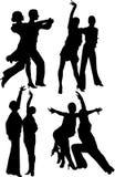 Silhouttes del baile Fotos de archivo libres de regalías