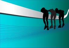 Silhouttes in der Zeile Schlittschuhläufer Stock Abbildung