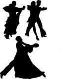 Silhouttes di Dancing Immagini Stock