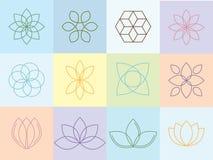 Silhouttes et icônes de fleurs Images stock