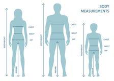 Silhouttes mężczyzna, kobiety i chłopiec w pełnej długości z pomiar liniami ciało parametry, ilustracji