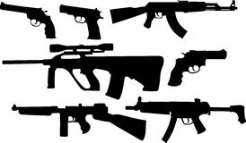 Silhouttes of weapons Royalty Free Stock Photos