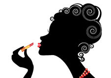 Silhouttle woman. Portrait woman with lipstick on white Stock Images