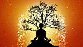 Silhuet-Leute meditieren mit Hintergrundanimationen 06 lizenzfreie abbildung