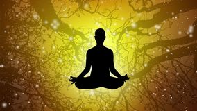 Silhuet People meditate with background animations 01
