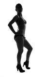 Silhueta à moda do levantamento caucasiano da mulher Fotografia de Stock