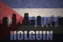 Silhueta abstrata da cidade com texto Holguin na bandeira do cubano do vintage ilustração do vetor