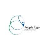 Silhueta abstrata isolada do corpo humano de cor azul e verde com logotipo circular dos elementos no vetor branco do fundo Imagens de Stock Royalty Free