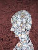 Silhueta acrílica abstrata da pintura da mulher Imagens de Stock